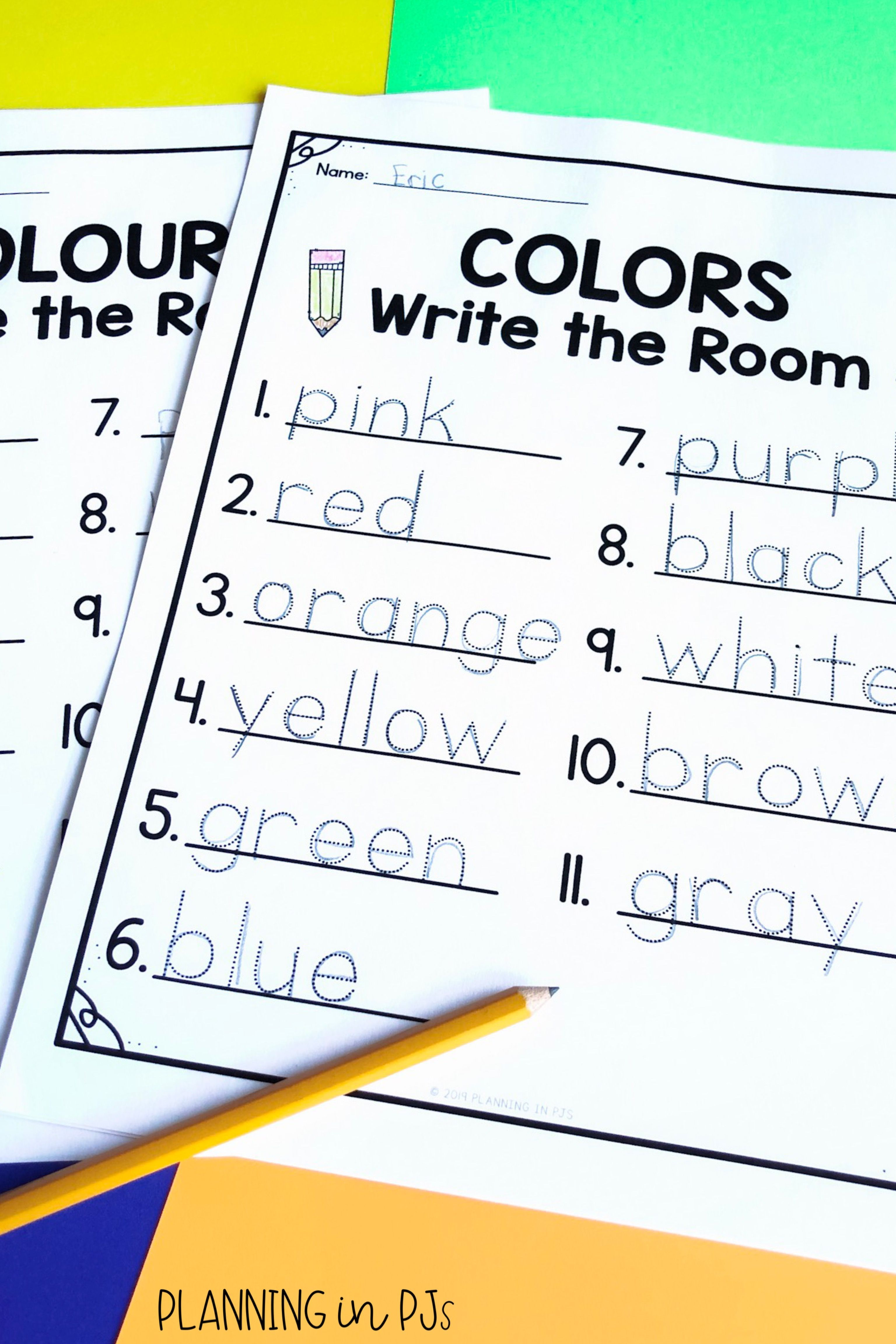 Colors Write The Room Colours Vocabulary Cards