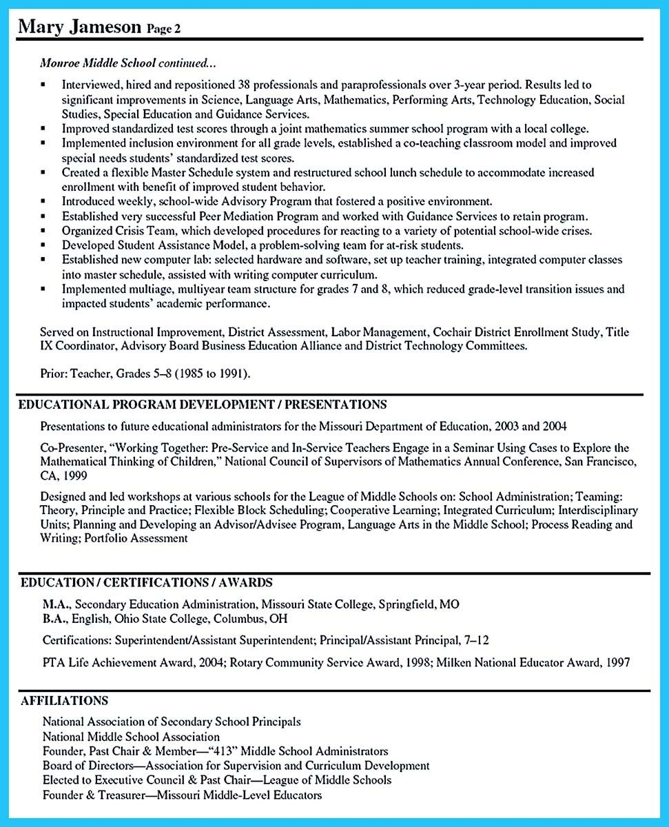Awesome An Effective Sample Of Assistant Principal Resume Assistant Principal Co Teaching School Leadership