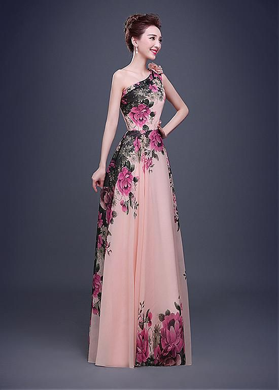 990d7a8615 In Stock Elegant Chiffon One-Shoulder Neckline A-line Evening Dress ...