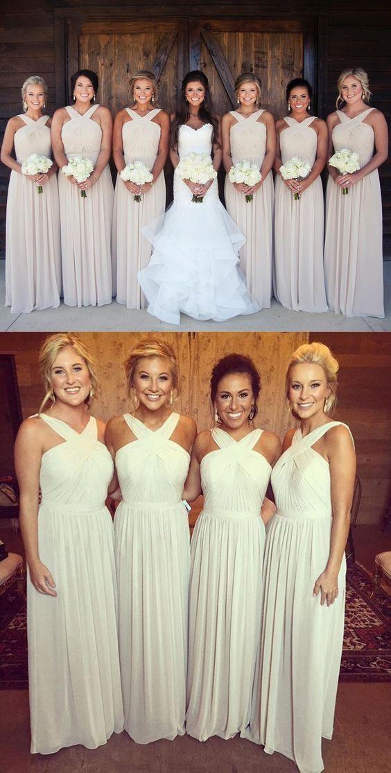 A Line V Neck Floor Length Ivory Bridesmaid Dress With Sash Ruched Ivory Bridesmaid Dresses Simple Bridesmaid Dresses Bridesmaid Dresses Long Chiffon