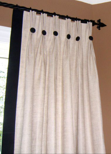 Classic Pinch Pleat Panels With Edge Band And Buttons Custom