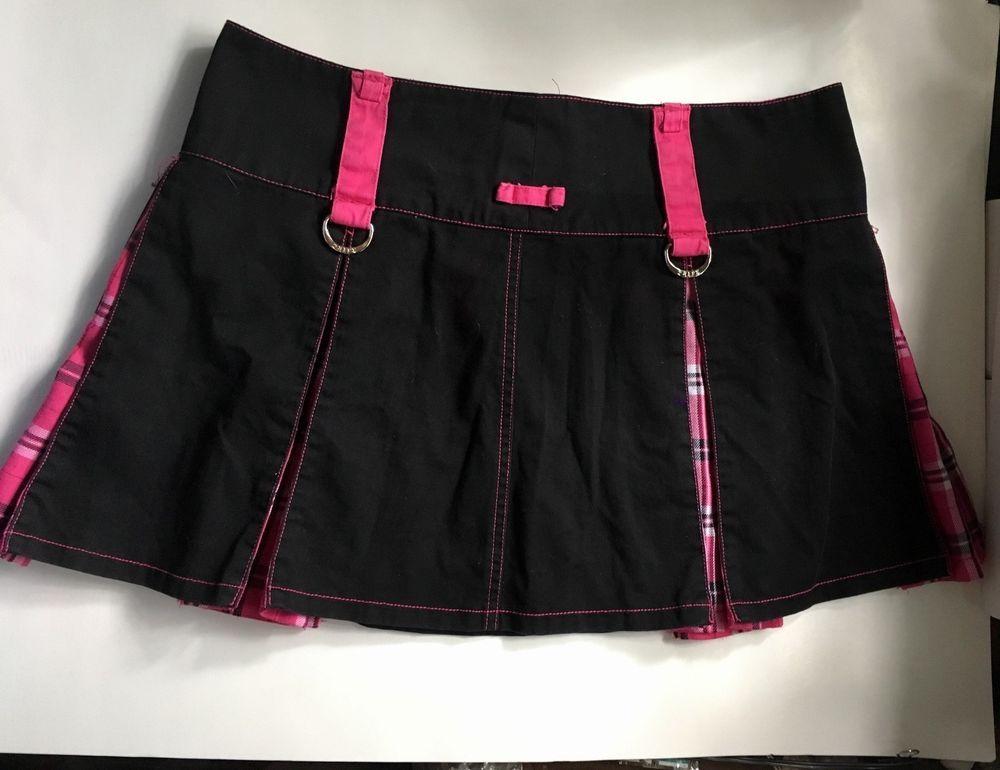 cf0ee495a65c Vintage Tripp nyc Size XL Mini-Skirt Skort Black Pink Plaid Goth Punk New  Wave #Trippnyc #GothPunkNewWave
