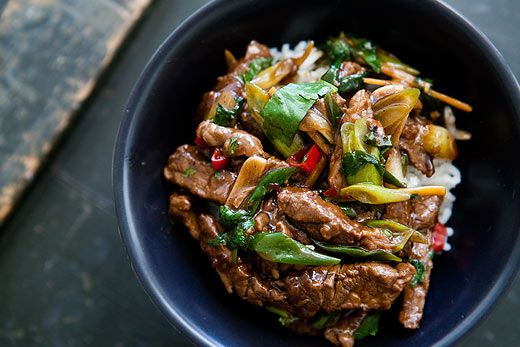 Beef sirloin strips, marinated in soy sauce, rice vinegar, honey, ginger, and chile, then quickly stir-fried with green onions, chile, ginger, and garlic.