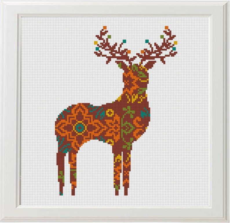 Set of 4 Cross Stitch pattern Fox deer owl bear Geometric pattern modern Animal Cross Stitch geometric digital