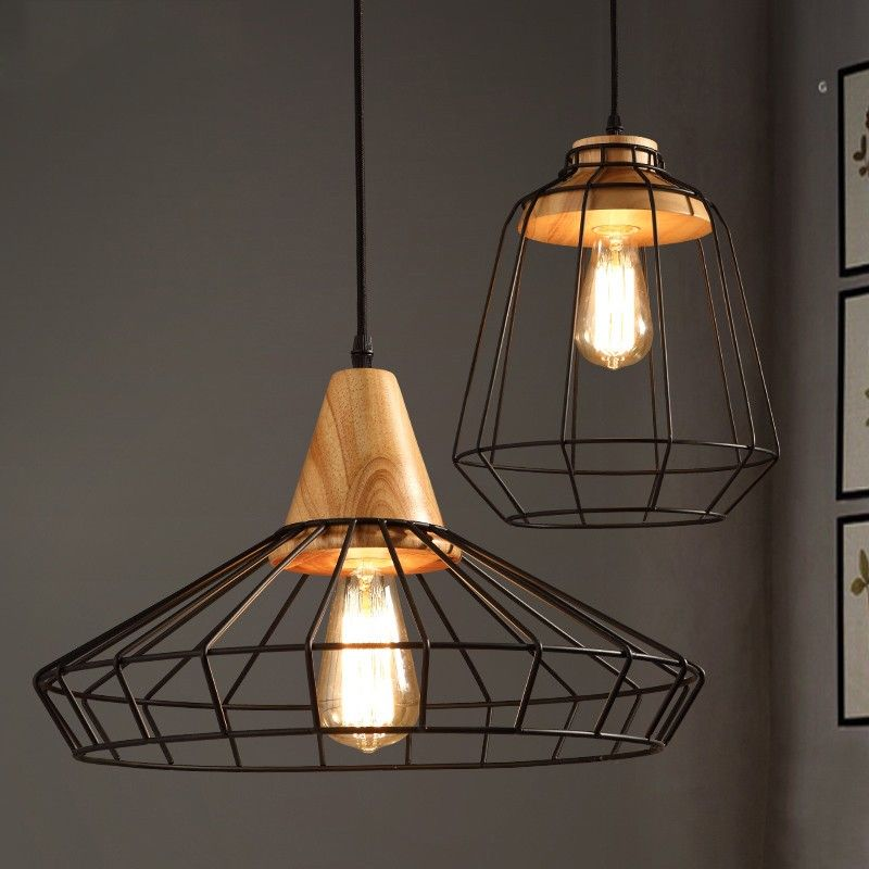 Industrial Loft Black Metal Cage Single Light Wood Art Pendant Light   Pendant  Lights   Ceiling