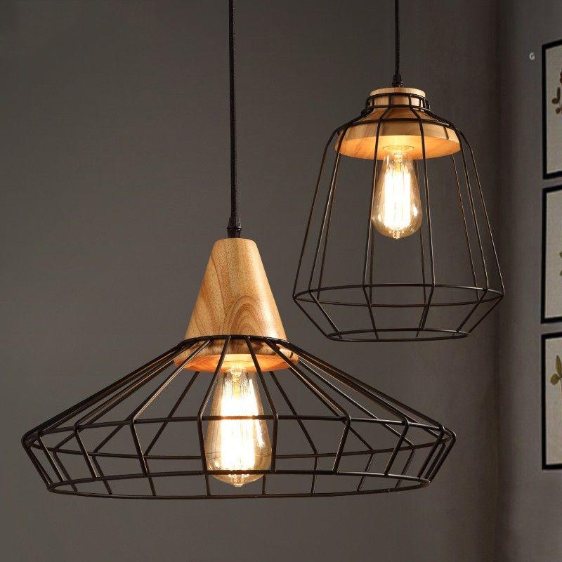 Industrial Loft Black Metal Cage Single Light Wood Art Pendant