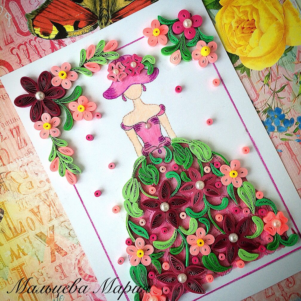 Flowers fairy in pink. #квиллинг #quilling
