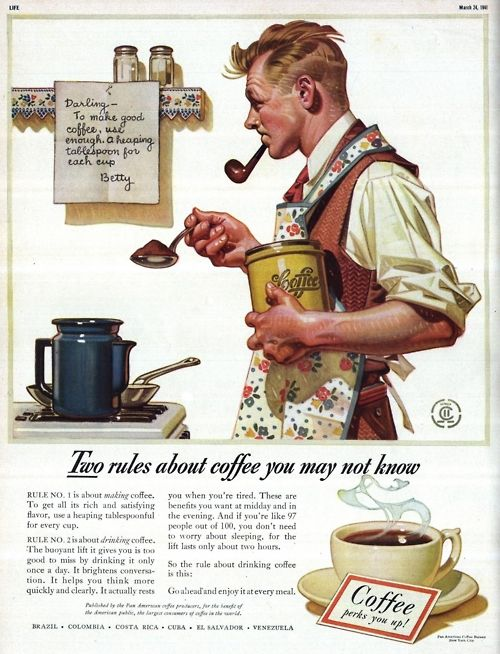 Two Rules About Coffee You May Not Know; Illustration by Harold N. Anderson(?) [Advert]