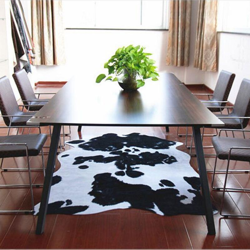 140X200CM Imitation Leather European Style Carpet For Living Room Bedroom Dairy Cow Pattern Mat