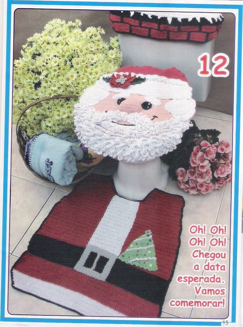 Jogo De Banheiro Papai Noel Em Croche