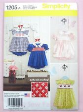 Simplicity 1205 Sewing Pattern Babies' Girls Classic Dress & Panties 0-18mth