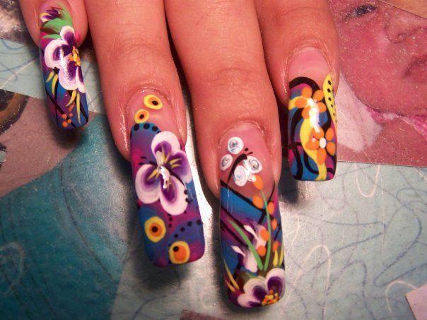 Really Long Patterned Nails Nails Pinterest Pink Nails And