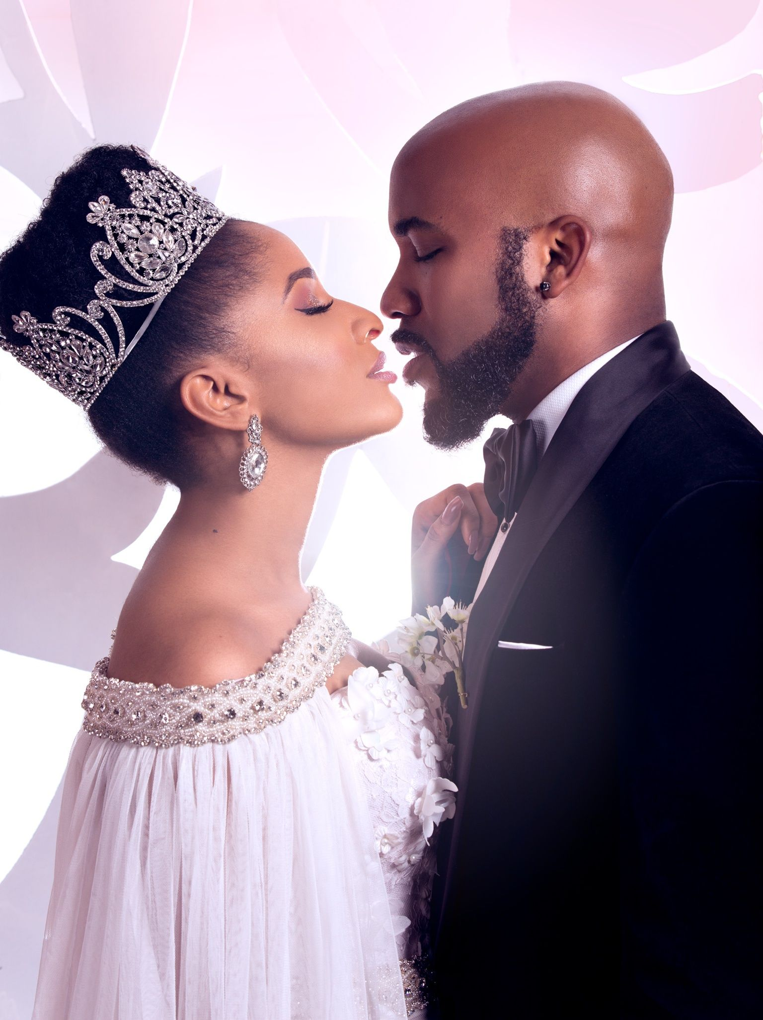 Banky W And Adesua Etomi For Their Movie The Wedding Party 2016 Natural Wedding Hairstyles Natural Hair Wedding Wedding Couples