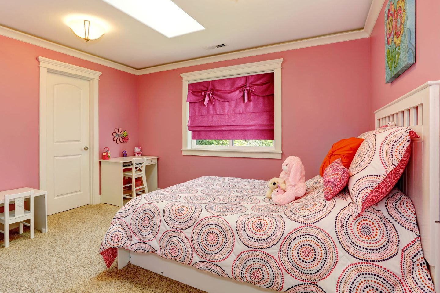 This Gorgeous Flat Roman Shade Has Beautiful Bow Details And A Valance Making It As Pret Bedroom Paint Colors Master Pink Bedroom For Girls Bedroom Decor Cozy Colourful tiny girls bedroom