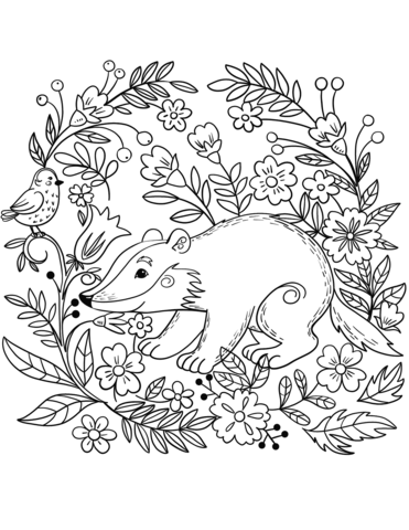 Badger And Bird Free Coloring Page Animal Coloring Pages Coloring Pictures Of Animals Coloring Pictures