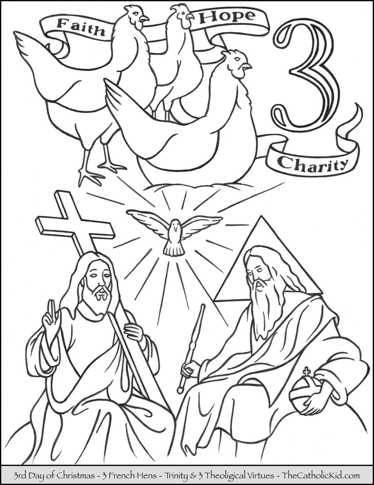 Third Day Of Christmas Three French Hens Coloring Page Christmas Coloring Pages 12 Days Of Christmas Christmas Tree Coloring Page