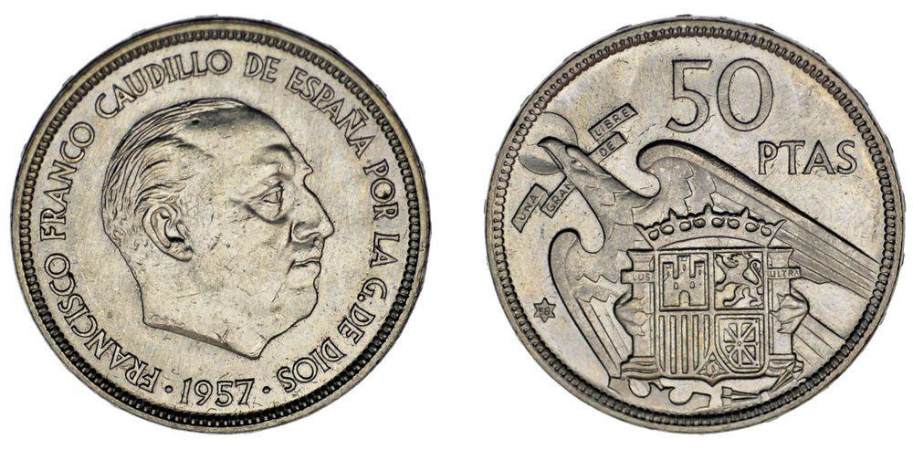 50 Pesetas Franco Estado Español 1957 58 Ni Error Xf Ebc Rare Rara Monedas Valor De Monedas Antiguas Moneda Española