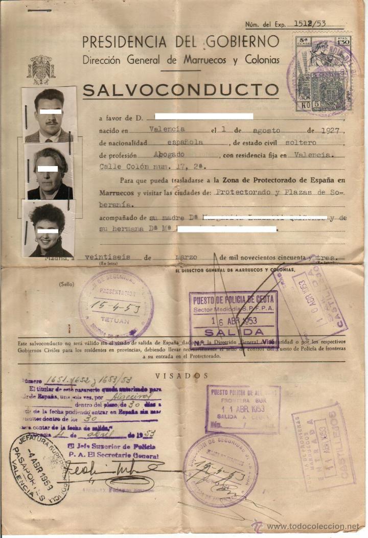 Documentos antiguos: 1953. SALVOCONDUCTO PROTECTORADO Y PLAZAS SOBERANAS. DIRECCION GENERAL DE MARRUECOS Y COLONIAS - Foto 1 - 46026968