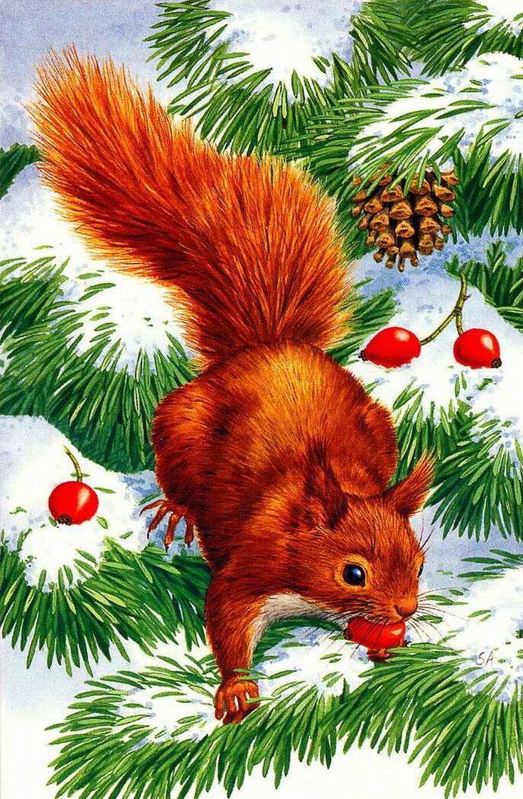 Новогодняя открытка советские лесные звери, поздравления днем