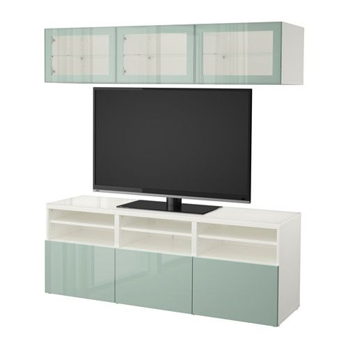 BESTÅ TV storage combination/glass doors, white Selsviken, high - Wohnzimmer Ikea Besta
