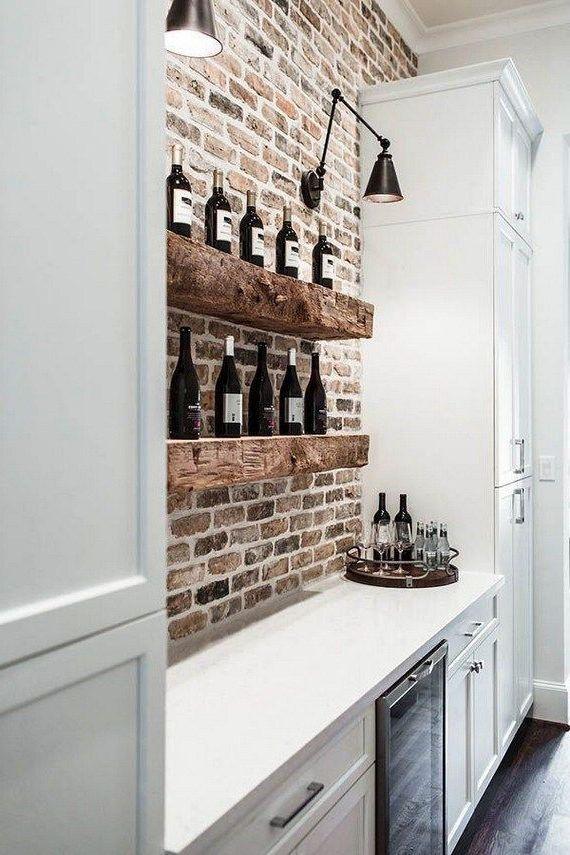 16 Tricks Of Small Kitchen Design In 2020 Brick Wall Kitchen Brick Interior Wall House Interior