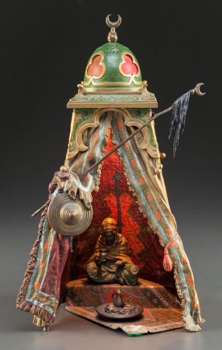 Franz Bergman Viennese Cold Painted Figural Lamp Tent With Man In