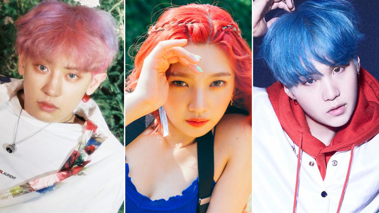 Why K Pop Stars Always Dye Their Hair Before A Big Release Hair Pop Star Rainbow Kpop Suga Why Chany Light Hair Color Hair Color Pink Hair Color Highlights