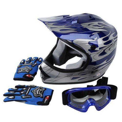 Amazon Com New Dot Approved Youth Blue Flame Dirt Bike Atv Mx Motocross Helmet Goggles Gloves S M L Bike Helmet Design Dirt Bike Helmets Motocross Helmets