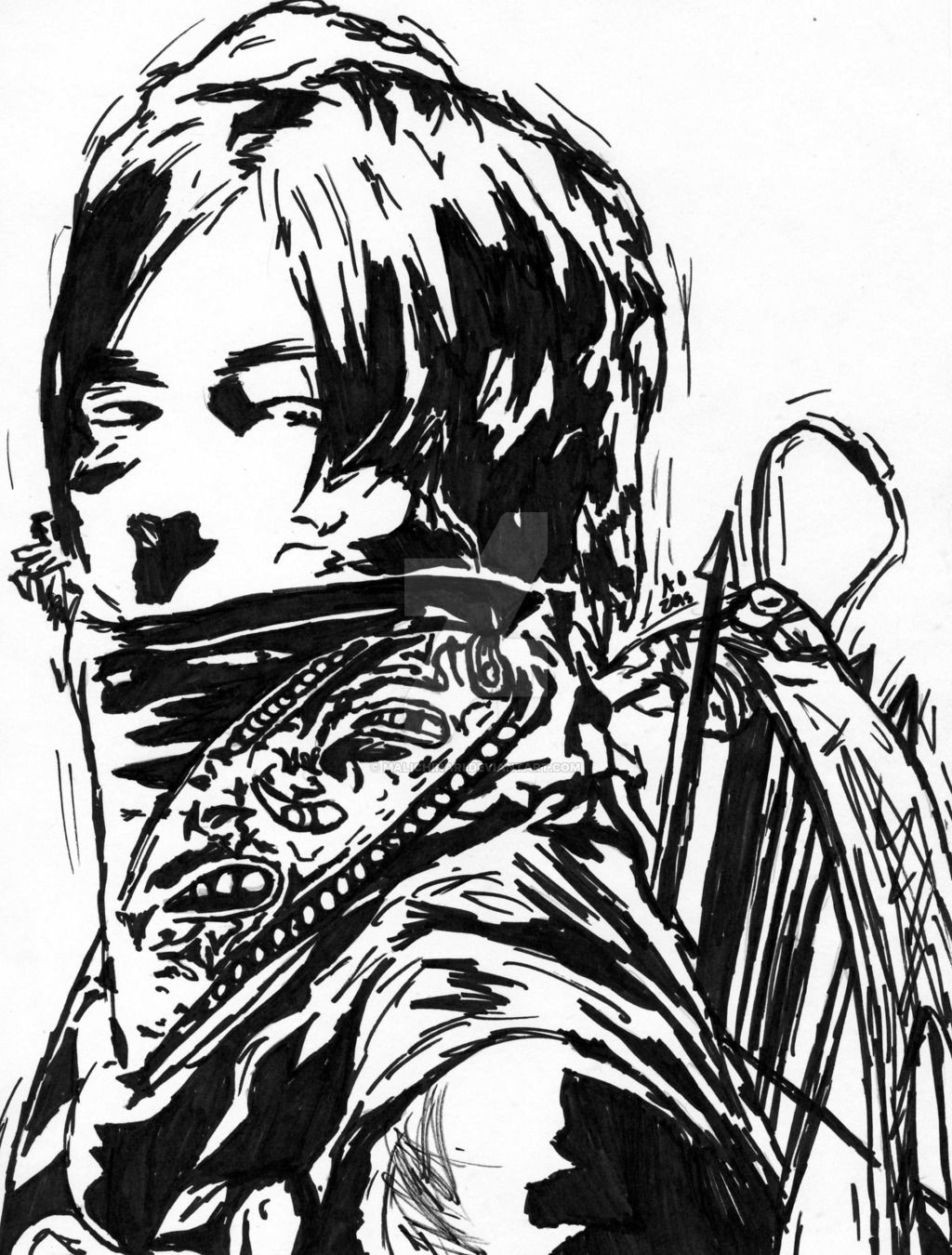 Daryl Dixon The Walking Dead Marker Speed Draw by