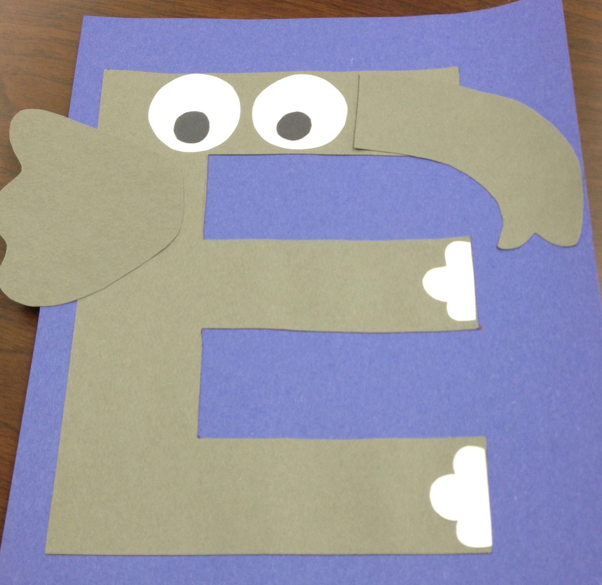 E for elephant craft am Pinterest