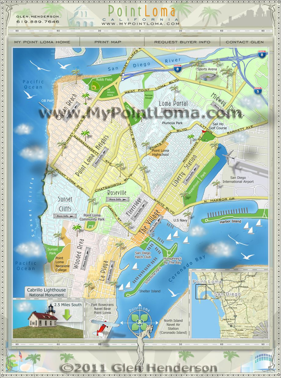Point Loma Map Point Loma Neighborhoods Map | San Diego Maps | San Diego, San  Point Loma Map