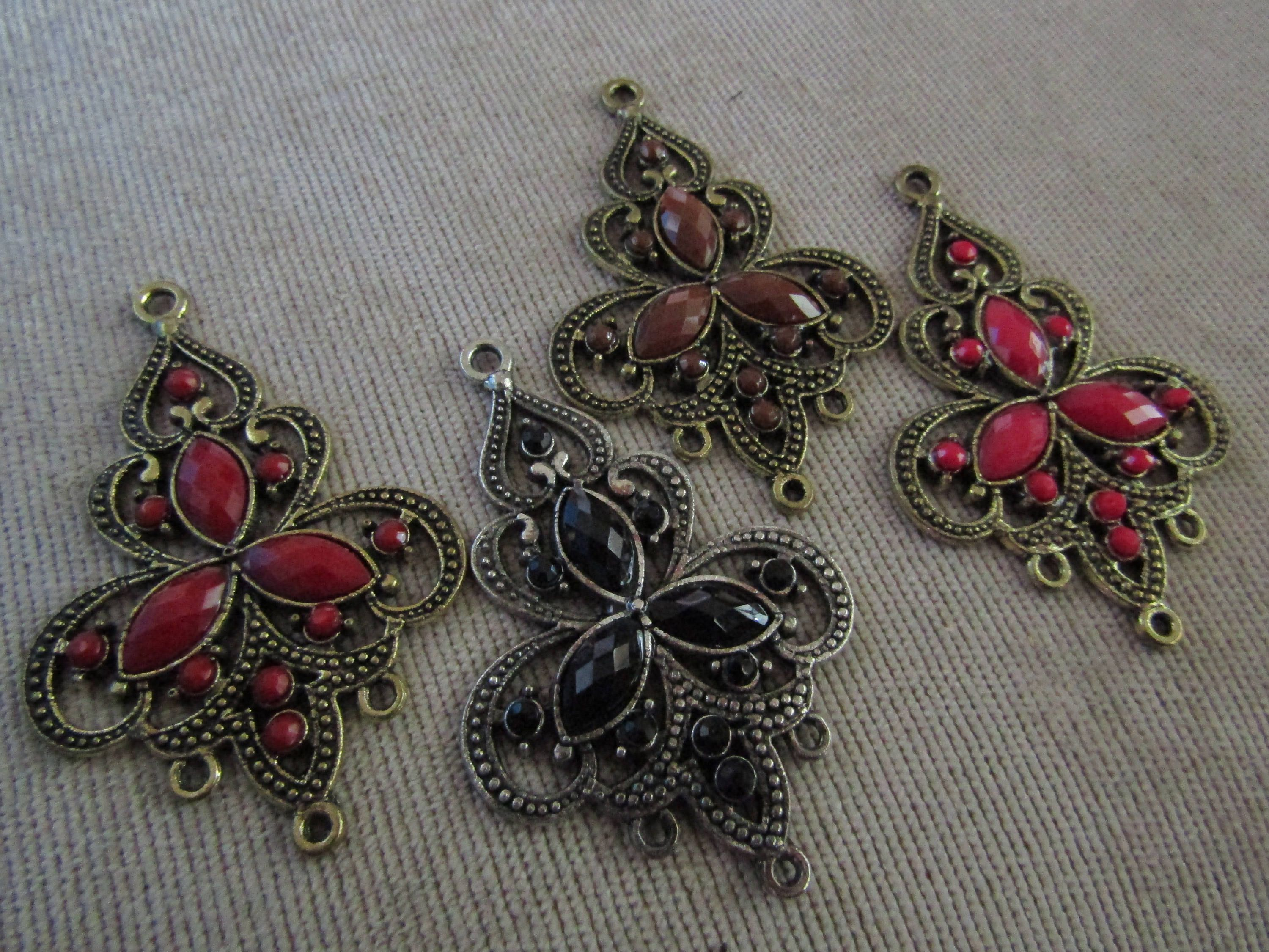 Chandelier earring findings metal rhinestones faceted 4 colors black chandelier earring findings metal rhinestones faceted 4 colors black brown deep red dark pink antique silver arubaitofo Image collections
