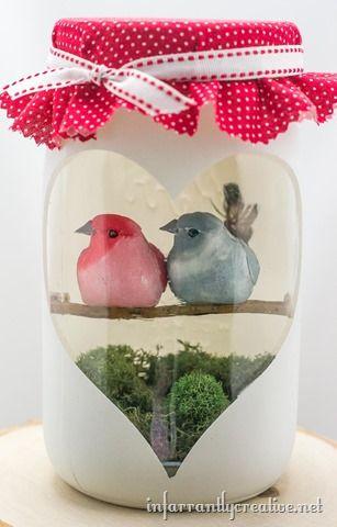 mason jar love birds