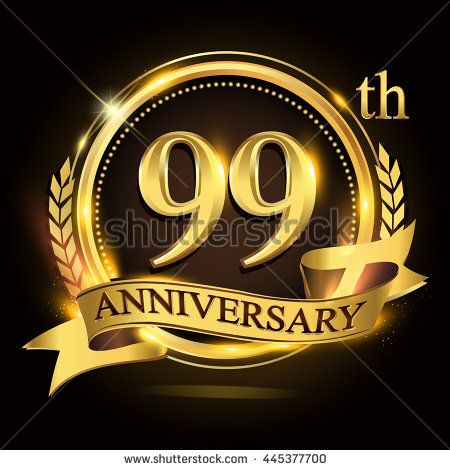99th golden anniversary logo with ring and ribbon, laurel wreath design. - stock vector