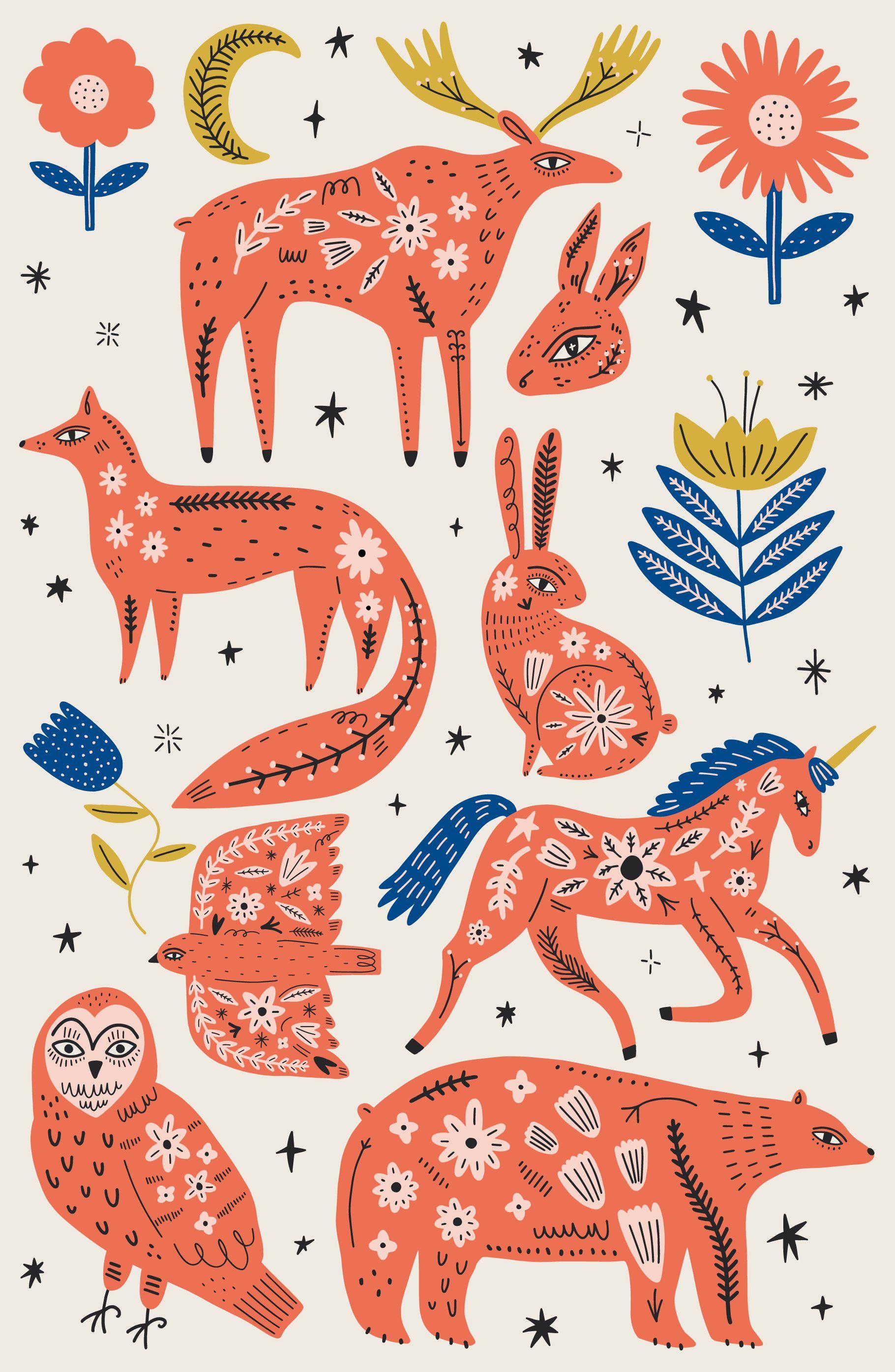 Scandinavian Ornate Animals Bundle In 2020 Modern Folk Art Scandinavian Folk Art Scandinavian Art