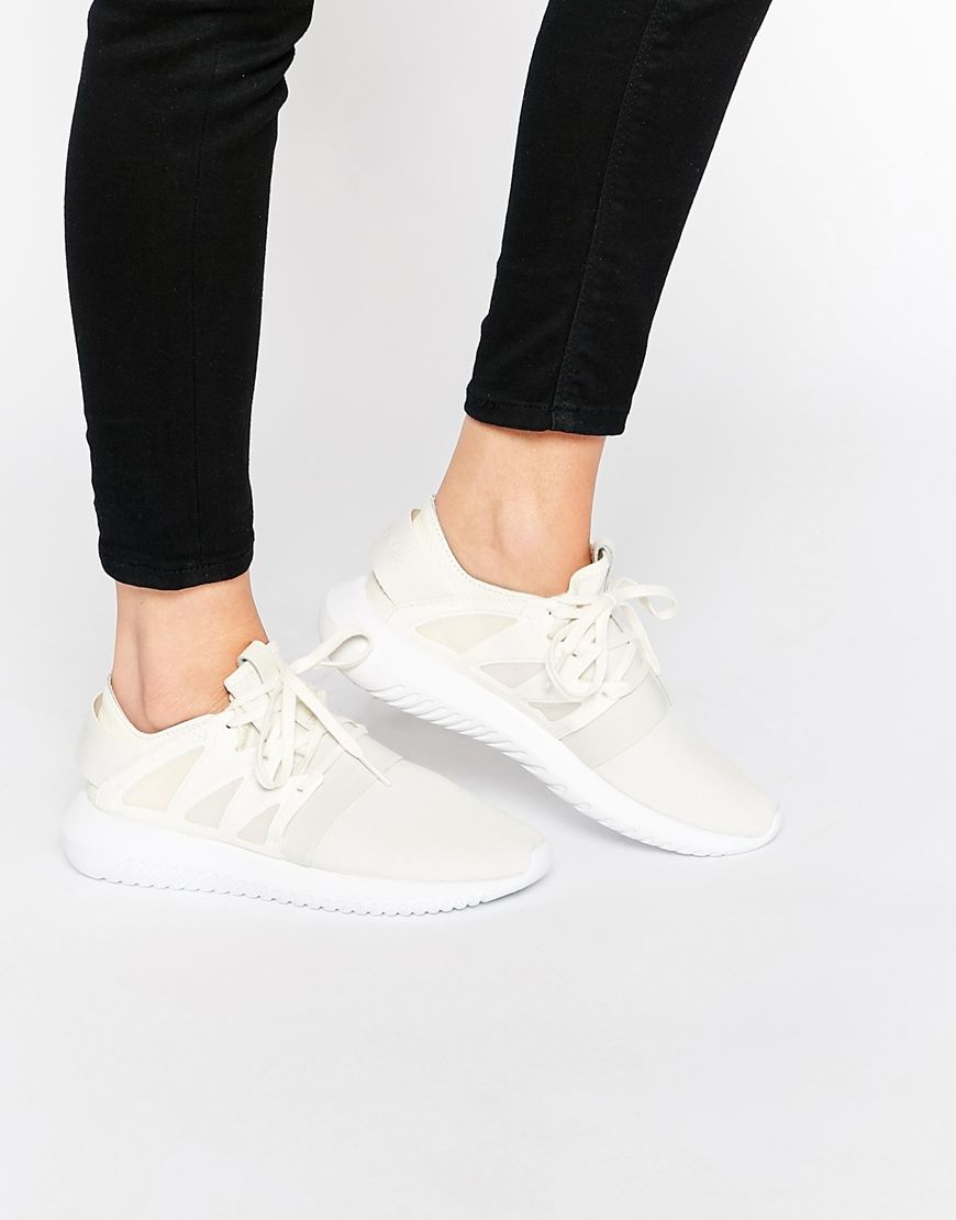 Image 1 of adidas Originals Chalk White Tubular Viral Sneakers