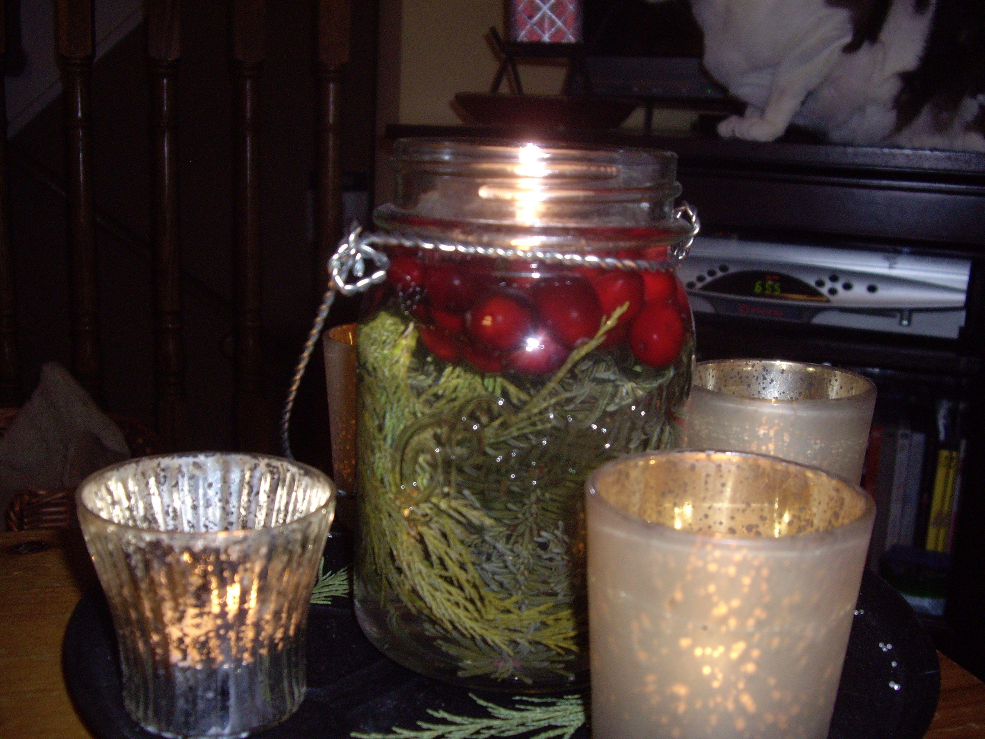 Mason Jar with Cranberries
