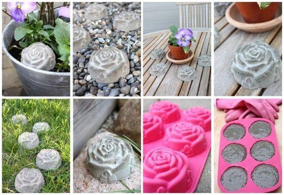kleine Rosen aus Beton selber machen basteln Pinterest - gartendeko selber machen beton