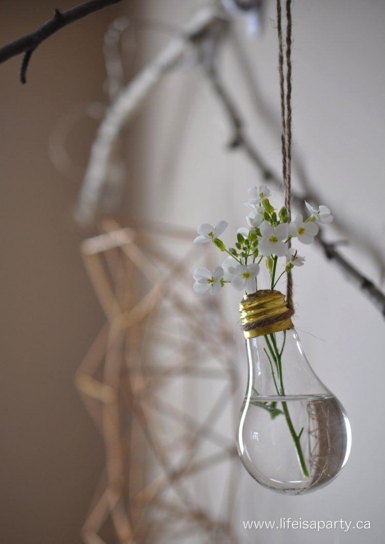 Diy Hanging Light Bulb Flower Vases Gardenoholic Com Hanging Light Bulbs Light Bulb Vase Bulb Flowers