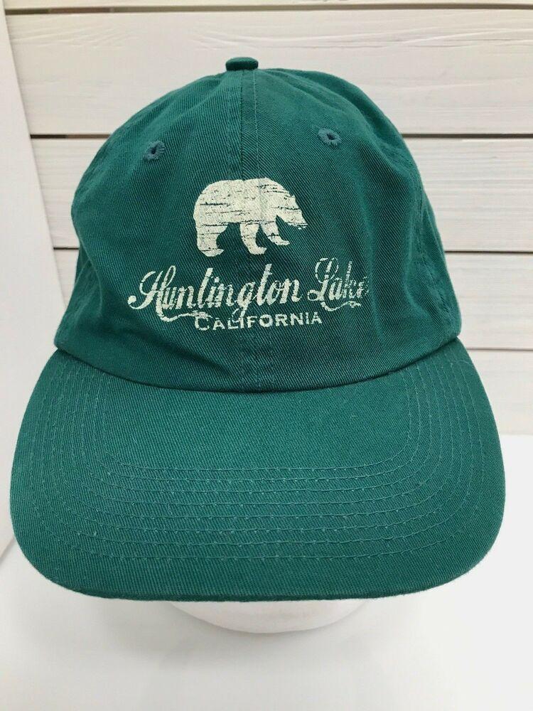 Huntington Lake California Bear Green Hat Strapback Cotton Green   farenheitheadwear  BaseballCap d499bd0a4416