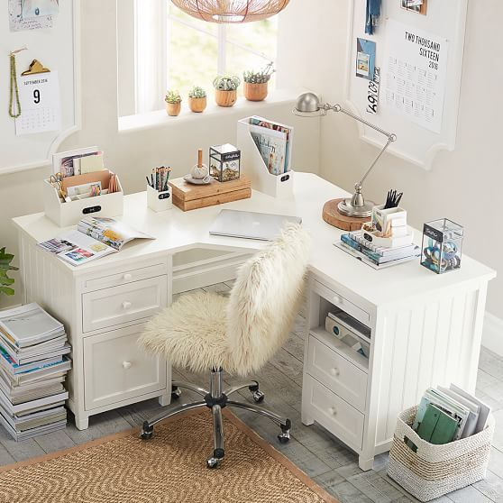 Bedroom Corner Desk: Beadboard Smart Drawer & Cubby Corner Desk