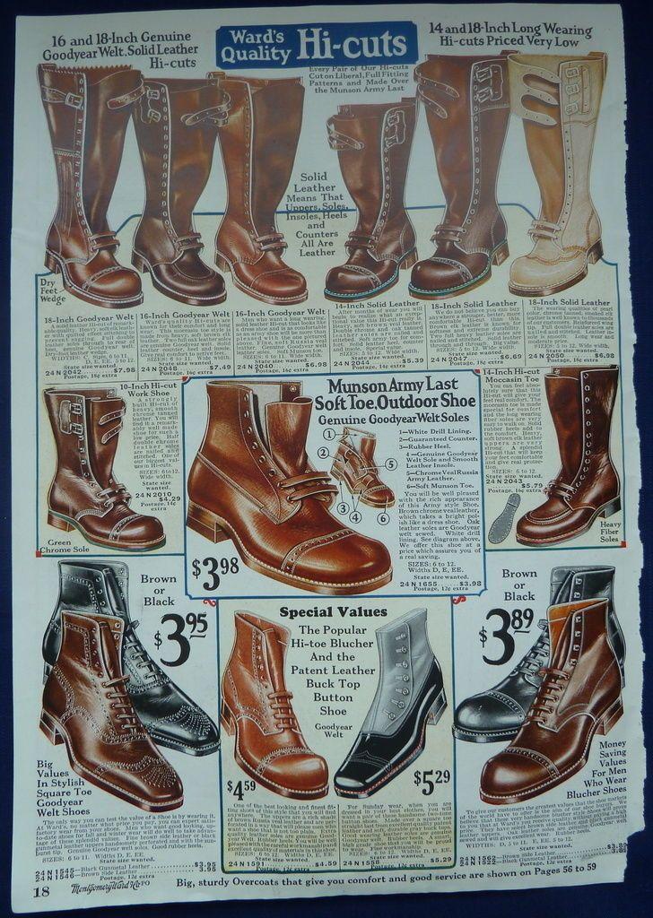 Mens Shoes Boots Vintage Antique 1920s Wards ORIGINAL ADS
