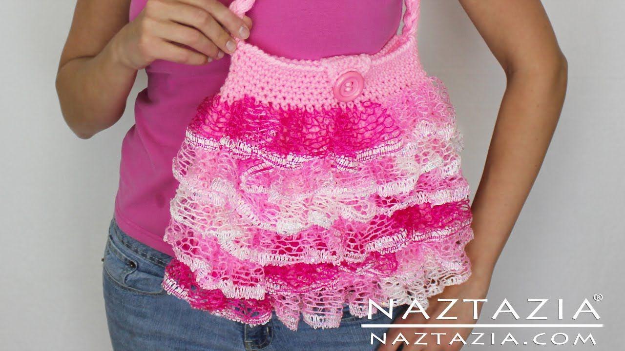 DIY Learn To Crochet Ruffle Yarn Purse Hand Bag Tote - Sashay ...