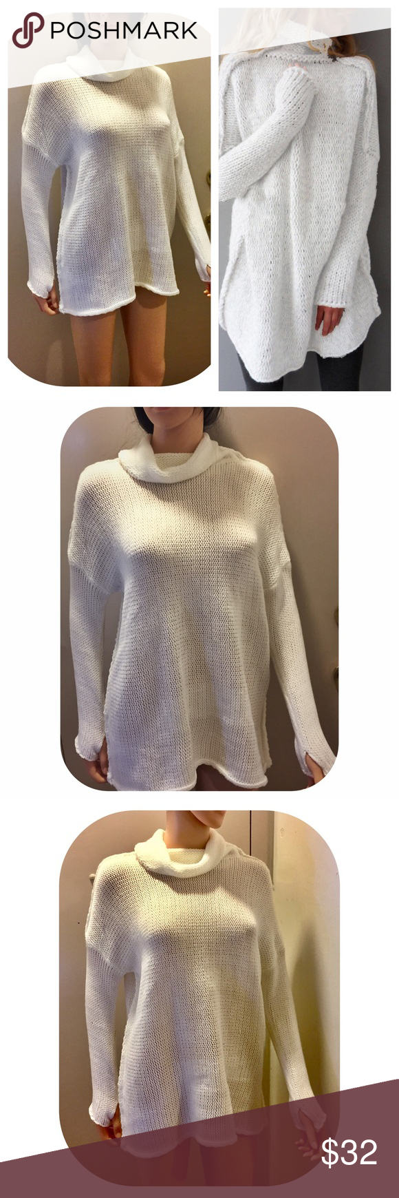 White Oversized Cowl Neck Sweater Boutique | Knit cowl, Cowl neck ...