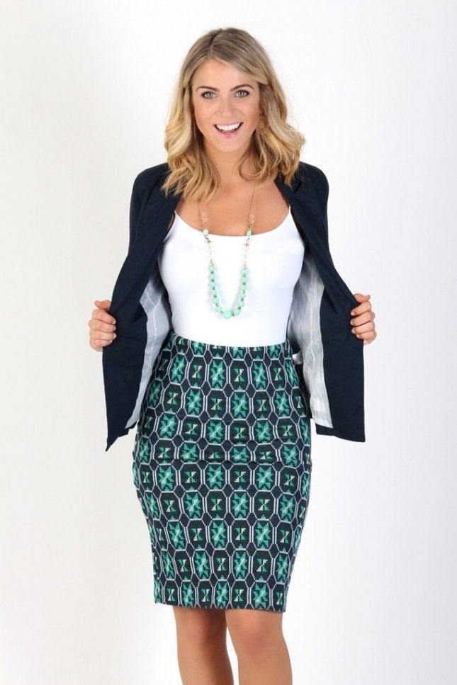 d2d2100afb1 Work some patterns into your office attire with a playful pencil skirt.
