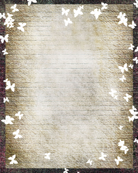 Printable Journal Page,Butterfly Digital Art Stationery, Butterfly - print writing paper