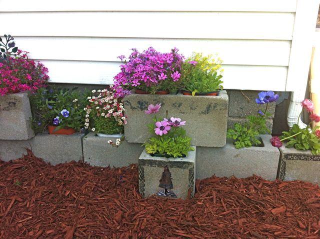 Cinder block herb garden idea for Sara Put around perimeter of