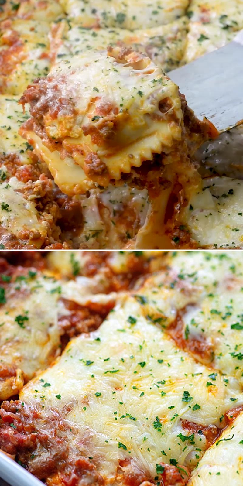 Lasagna made extra cheesy and extra easy with ravioli!