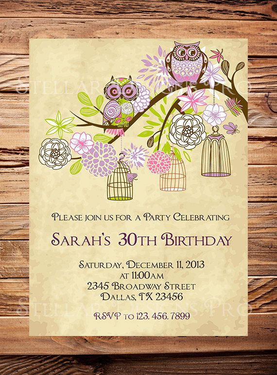 Owls, kathy! lol... 30th Birthday Invite, 40th, 50th Birthday, Adult Whimsical Birthday Invite, Owls, Green, Pink, Teal, Purple, Milestone Birthday (Item3007)