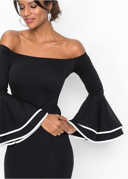 ffcffbf689dc Φόρεμα με ακάλυπτους ώμους Μαύρο Λευκό κρεμ